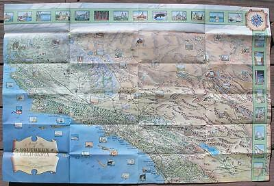 1965 AAA Pictorial MAP of Southern CALIFORNIA