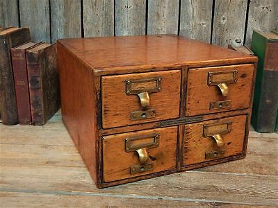 Antique Library Bureau Sole Makers 4 Drawer Oak File Card Cabinet 1901 Stunning!