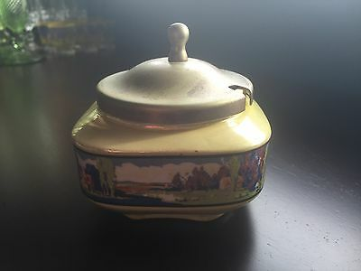 Vintage Jam Pot With Silver Plate Lid