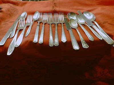 Vintage Mixed 14 Pieces Of Silver Plated Flat Ware