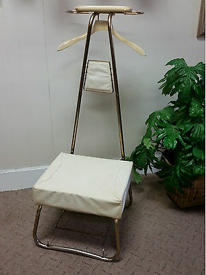 60s VINTAGE BUTLER VALET CHAIR FRENCH PROVINCIAL GOLD CREAM STAND