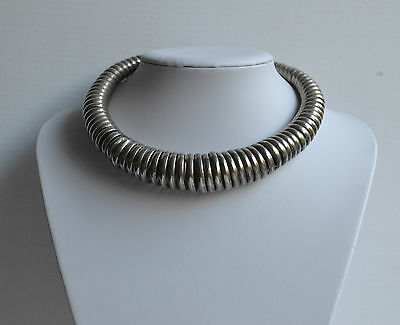 Vintage Handmade Tribal African Torque Necklace Twisted Silver Tone Metal