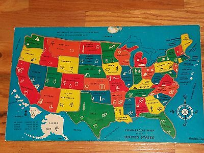 Vintage Wooden United States USA Child's Educational Learning Tray Puzzle Map