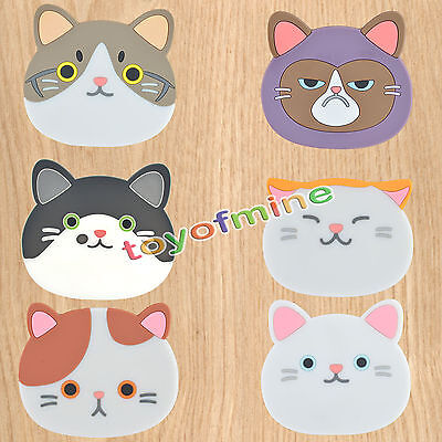 Cat Shaped Tea Coasters Cup Holder Mat Coffee Drinks Drink Silicon Coaster Pads