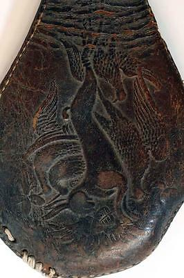 Antique Tooled Leather Powder Shot Flask Pouch Horn Hunting Motif  Rabbit Birds