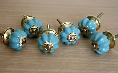 Lot Of 6 Vintage Style Blue Ceramic & Brass Spigot Drawer Pulls Knobs Handles #2
