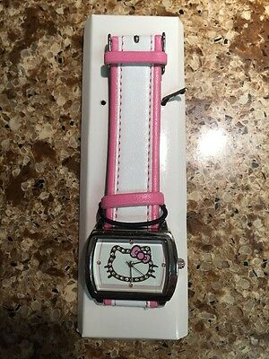 Hello Kitty Sparkle Watch Pink White Square Dial NIB USA