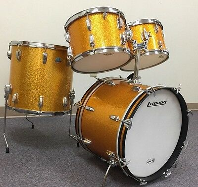 LUDWIG 1970s GOLD SPARKLE 4 PIECE 3 PLY MAPLE DRUM KIT. BEAUTIFUL CONDITION!