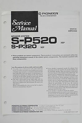 PIONEER S-P520 S-P320 Speaker System Service Manual/Guide/Wiring diagram! o68