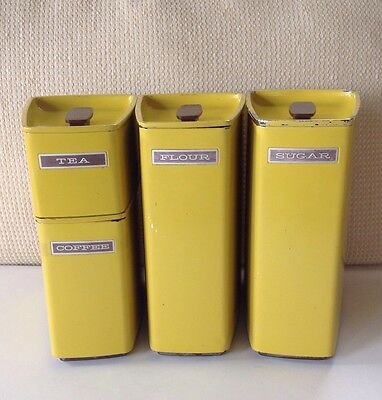 Vintage Fashion Manor Sunny Yellow Stackable 4 Piece Canister Set  Mid-Century