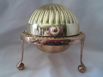 Vintage SilverPlated Roll Top Caviar Pate Butter Serving Dish
