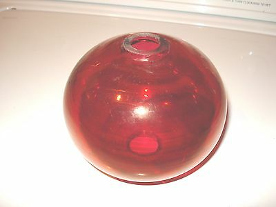 Antique Lightning Rod Ball Flashed Ruby Red Glass