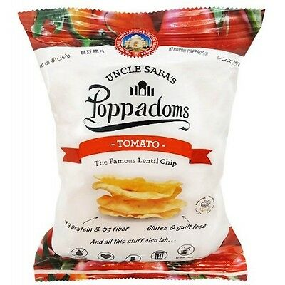 Uncle Saba's Poppadoms Tomato Lentil Chips 50g Healthy Less Carbs Low GI