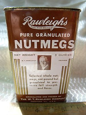 Vintage RAWLEIGH's Pure GRANULATED NUTMEGS Advertising Spice Tin!