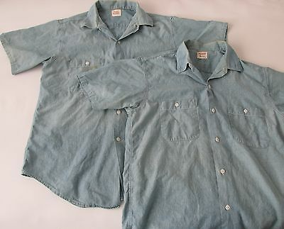 Vintage 50s 2 Penney's Big Mac Chambray Button Down Work Shirt Sanforized