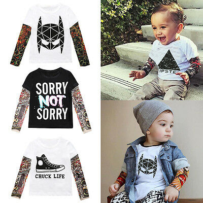 Kids Baby Boys Girls Toddler Tattoo Printed Sleeves Casual Tops Shirt Blouse Tee
