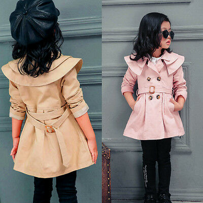 Toddler Kids Girls Double Breasted Trench Coat Wind Jacket Dress Outwear Autumn