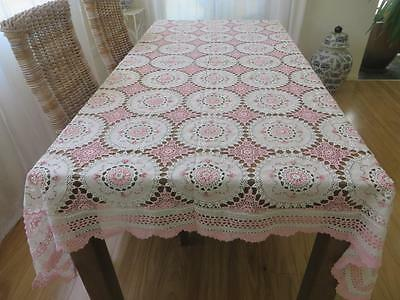 Vintage Hand Embroidery Pink Roses & Crochet Tablecloth 220 x 175cm