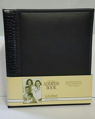 C.R. Gibson Refillable Address Book, BLACK  (A1-3869) - NEW -