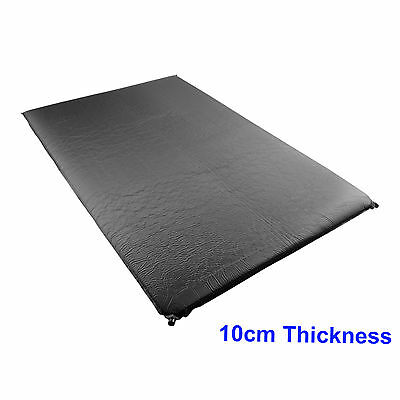 Double Self Inflating Camping 10cm Camp Bed Adventure Sleeping Mattress Black
