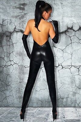 Overall Wetlook schwarz 7097 black Sexy Party Outfit Disco Club Catsuit XS-M