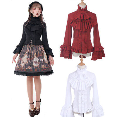 Women Medieval Renaissance Gothic Lolita Palace Flared Sleeves Blouse Shirt Top