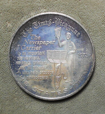 New Orleans LA Times-Picayune 1973 .999 Silver Doubloon Charles III Delivery Boy