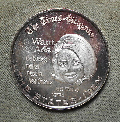 New Orleans LA Times-Picayune 1974 .999 Silver Doubloon Chrles III Want Ads