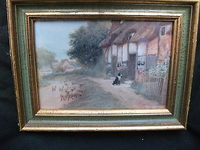 A.C. STRACHAN Small Print 'Waiting For Master' Gilded Frame Cottage Farm Scene