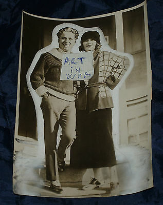 First Posed Photo Of Chaplin And Negri Film Colony Original With Paint See