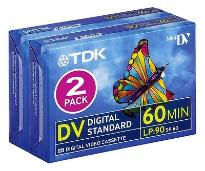 Mini DV TDK Digital Standard Video Cassette 60 minutos (Pack de 2 cintas nuevas)