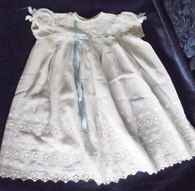 1953 Vintage Embroidered Christening Dress, Pure Cotton Voile, Natural Colour