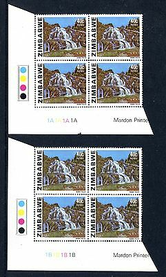 Zimbabwe 1983 Waterfalls Plate blocks 1A and 1B MUH
