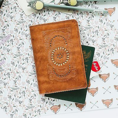 Brown Slim Genuine Leather Hollow Passport Cover Organizer Travel Wallet Holder