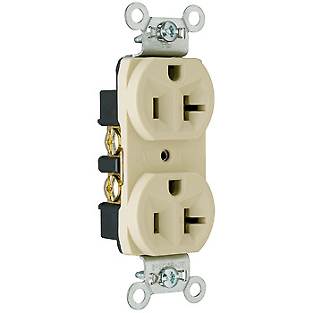 Pass & Seymour (10 Pack) CRB5362I 20 Amp 125 Volt Spec Grade Receptacle, Ivory
