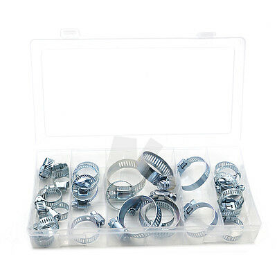 New 26PC x Assorted Stainless Steel Hose Clamp With Driver Jubilee Clip Set