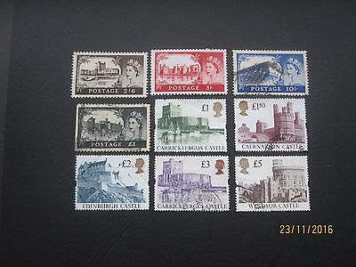 Gb Stamps - Qe11 - Range Of Castle Issues - Mint And Used