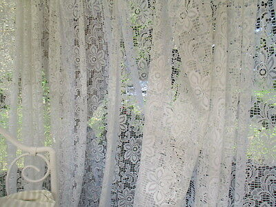 Vintage French Full Length Lacy Curtain. Very wide, very long. (B)