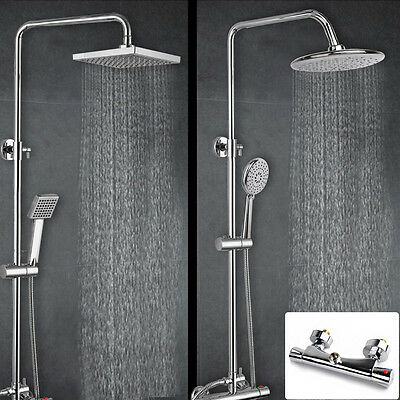 Modern Thermostatic Shower Mixer Chrome Bathroom Bath Twin Head Round Or Square