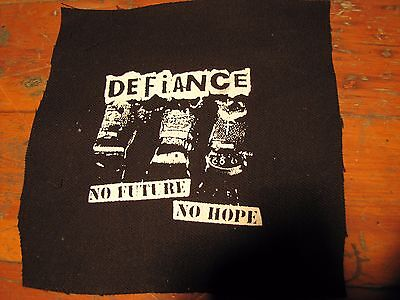 Defiance Screen printed thick canvas crust patch punk hardcore grind anarchy