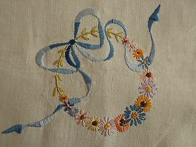 Vintage  small hand embroidered linen tablecloth/centre piece