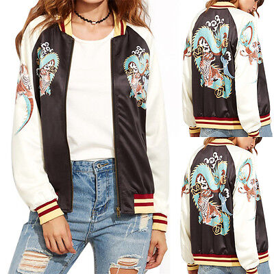 Fashion Women Casual Biker Motorcycle Baseball Zipper Bomber Jacket Coat Outwear