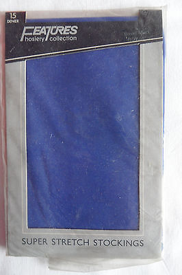 Royal blue super stretch stockings 1970/80's 'Features' for Debenham's Small/Med