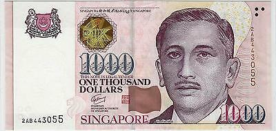 SINGAPORE 1000 Dollars P43 1999~~2012   1 TRIANGLE   UNC, MINT BANK NOTE