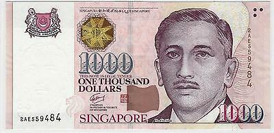 SINGAPORE 1000 Dollars P43 1999~~2012   2 TRIANGLE's   UNC, MINT BANK NOTE