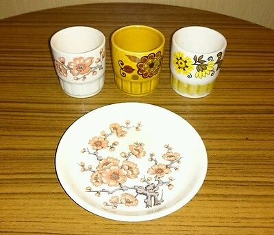 4x PALISSY ENGLAND POTTERY PIECES. Vintage Retro Collectable.