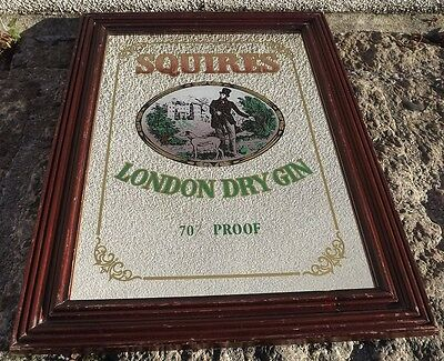 Vintage Squires London Dry Gin Large Pub Bar Advertising Mirror  51cm x 38cm