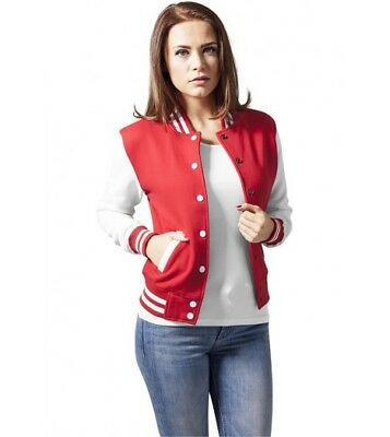 College Jacket URBAN CLASSICS Ladies' Red White Sweater jacket