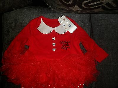 Nutmeg Christmas Santas Little Helper Babygrow Sleepsuit Age 0 - 3 Months