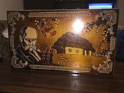 Original Vintage Wood Inlay Picture. Handmade Crafted With Inlaid Wood.
